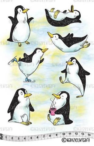 Katzelkraft: Les Pingouins -  Funny Penguins  A5 - unmounted leimasinsetti