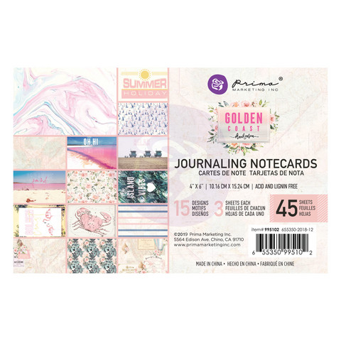 Prima Marketing: Golden Coast 4x6 Journaling Cards