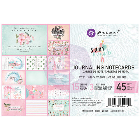 Prima Marketing: Surfboard 4x6 Journaling Cards