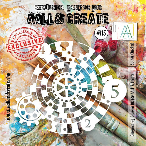 Aall & Create STENCIL Spiral Checked #115 - sabluuna