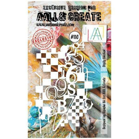 Aall & Create STENCIL: Digits Checked  #110 - sabluuna