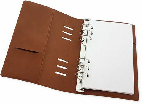 Craft Emotions: Ringbound PU Leather Planner Slim 12 x 21cm Cognac Brown - rengasplanneri/TN hybridi