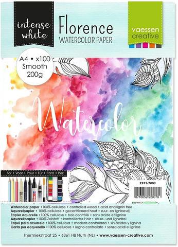 Vaessen Creative: Florence Smooth 200gsm akvarellipaperipakkaus A4 / 100 arkkia
