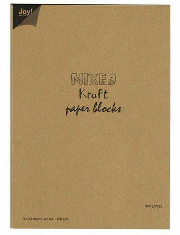 Joy Crafts: Mixed Kraft Paper Block A4 - kartonkipakkaus