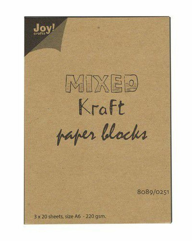 Joy Crafts: Mixed Kraft Paper Block A6 - kartonkipakkaus