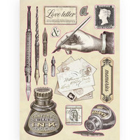 Stamperia Colored Wooden Shapes: Calligraphy Ink -puukuviot