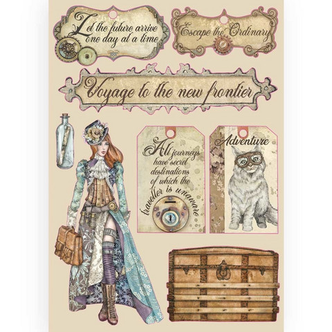 Stamperia Colored Wooden Shapes: Lady Vagabond Labels -puukuviot