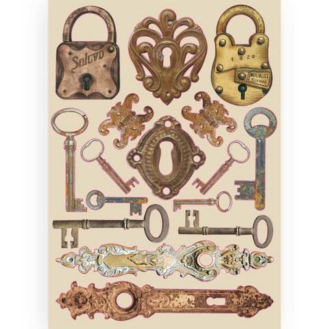 Stamperia Colored Wooden Shapes: Lady Vagabond Locks & Keys  -puukuviot