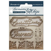Stamperia Decorative Chips: Secret Diary - chipboard leikkeet