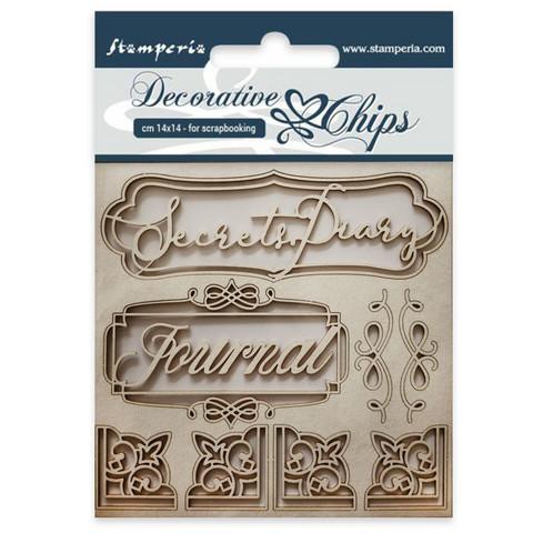 Stamperia Decorative Chips: Secret Diary - chipboard leikkeet