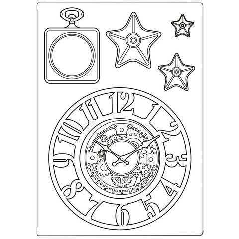 Stamperia Mixed Media Silicon Mold A5: Sir Vagabond Clocks & Stars