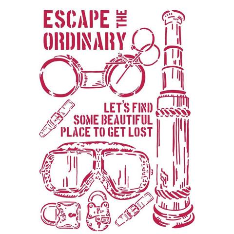 Stamperia Stencil A4 : Lady Vagabond - Escape The Ordinary