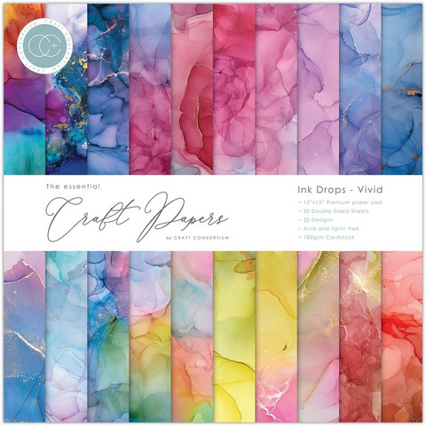 CC Essential Craft Papers 12 x 12 :  Ink Drops - Vivid