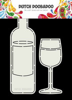 Dutch Duubadoo: Card Art Wine Bottle & Glass A5 -sabluuna