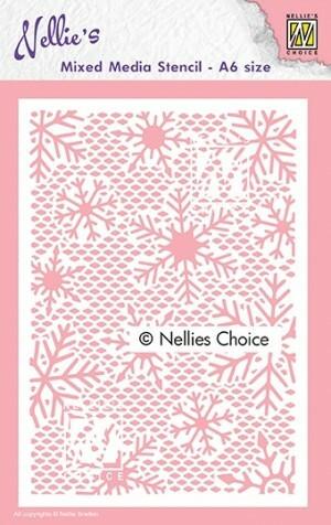 Nellies Choice Mixed Media A6 Stencil : Small Snowflakes -sabluuna