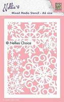 Nellies Choice Mixed Media A6 Stencil : Large Snowflakes -sabluuna