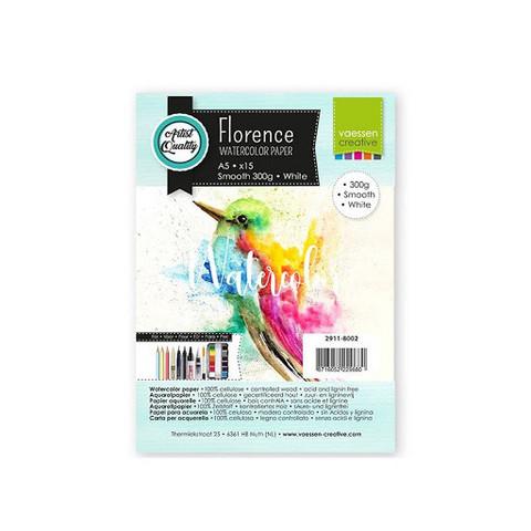 Vaessen Creative: Florence Smooth 300gsm akvarellipaperipakkaus A5 / 15 arkkia