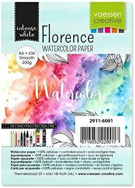 Vaessen Creative: Florence Smooth 200gsm akvarellipaperipakkaus A6 / 36 arkkia