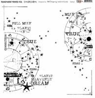 13arts Transparent Printed Foil : Constellation  12x12   - asetaattiarkki