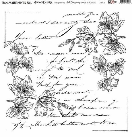 13arts Transparent Printed Foil : Moonflowers  12x12   - asetaattiarkki