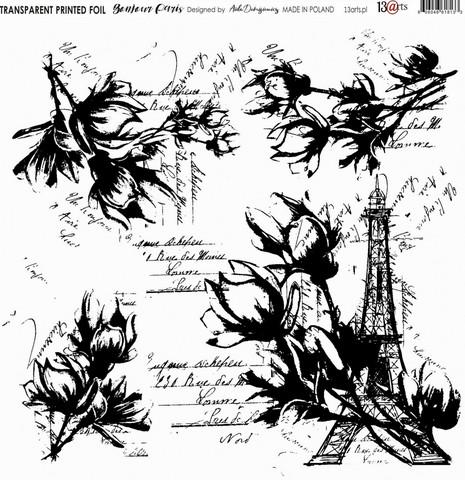 13arts Transparent Printed Foil : Bonjour Paris  12x12   - asetaattiarkki