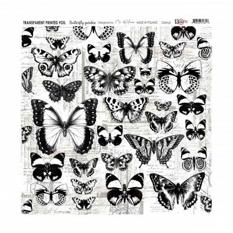 13arts Transparent Printed Foil : Butterfly Garden  12x12   - asetaattiarkki