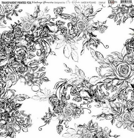 13arts Transparent Printed Foil : Vintage Flowers  12x12   - asetaattiarkki