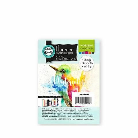 Vaessen Creative: Florence Smooth 300gsm akvarellipaperipakkaus A6 /  20 arkkia