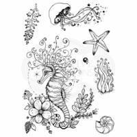 Pink Ink Design: Seahorse Swirls A5  - leimasinsetti