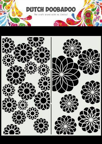 Dutch Doobadoo: Slimline Flowers  21x21 cm -sabluuna
