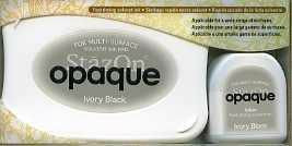 Stazon Opaque: Ivory Black  -mustetyyny ja täyttöpullo