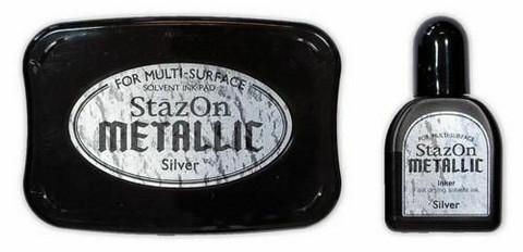 Stazon Metallic: Silver  -mustetyyny ja täyttöpullo