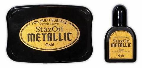 Stazon Metallic: Gold  -mustetyyny ja täyttöpullo