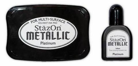 Stazon Metallic: Platinum  -mustetyyny ja täyttöpullo