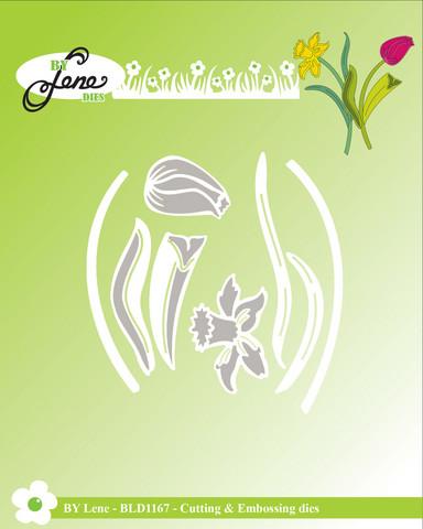 By Lene: Spring Flowers (Narsissi ja tulppaani)  -stanssisetti