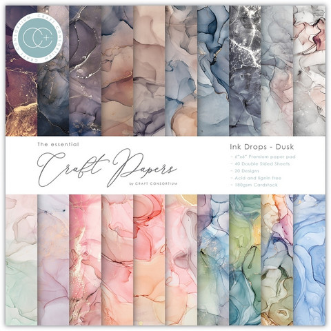 CC Essential Craft Papers 6 x 6 :  Ink Drops - Dusk