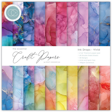 CC Essential Craft Papers 6 x 6 :  Ink Drops - Vivid
