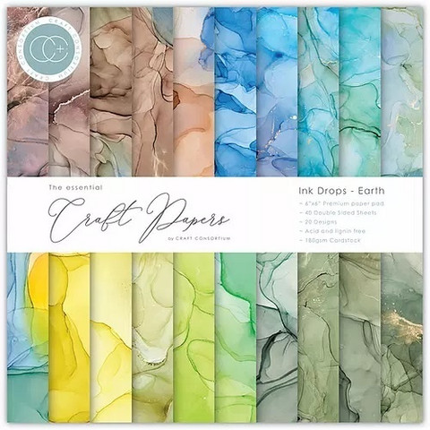 CC Essential Craft Papers 6 x 6 :  Ink Drops - Earth