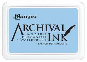 Archival Ink:  French Ultramarine  - mustetyyny