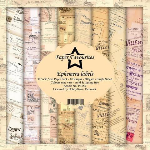 Paper Favourites: Ephemera Labels 12x12 kokoelma