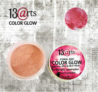 13arts Color Glow Metallic Watercolor: Coral Red 10g - jauhevesiväri