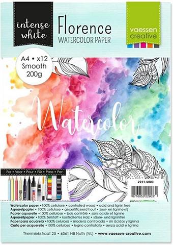Vaessen Creative: Florence Smooth 200gsm akvarellipaperipakkaus A4 / 12 arkkia