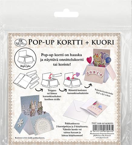 JK Primeco: Pop-Up korttipohjat ja kuoret 3kpl