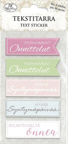 JK Primeco: Tekstitarra Onnittelut pastelli (2 arkkia)