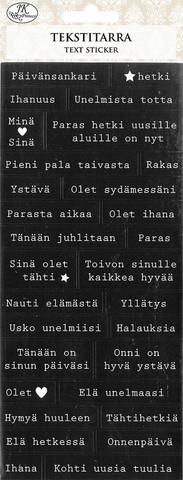 JK Primeco: Tekstitarra sanonnat mustavalkoinen