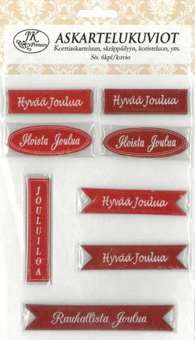 JK Primeco: Jouluteksti punainen - leikekuviopakkaus
