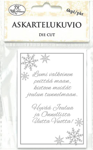 JK Primeco: Jouluteksti hopea - leikekuviopakkaus