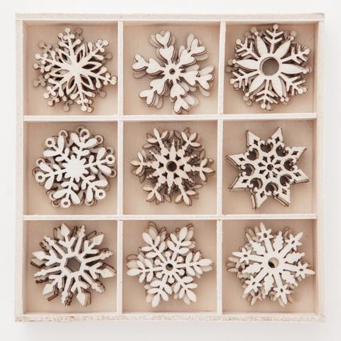 Wooden Shapes: Snowflakes - puukoristeet