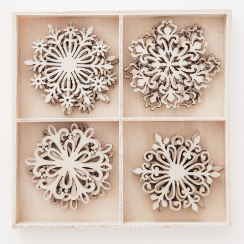 Wooden Shapes: Snowflakes Large - puukoristeet