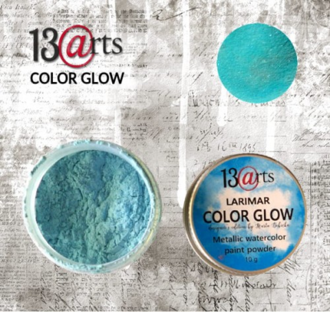 13arts Color Glow Metallic Watercolor : Larimar 10g - jauhevesiväri